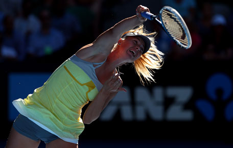 Maria Sharapova serves in her quarter-final against Ekaterina Makarova during day nine of the 2013 Australian Open at Melbourne Park on January 22, 2013 in Melbourne, Australia. (GETTY)