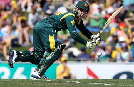 Phillip Hughes of Australia plays a shot during their one-day international against Sri Lanka at Blundstone Arena, in Bellerive, Hobart on January 23, 2013. (REUTERS)