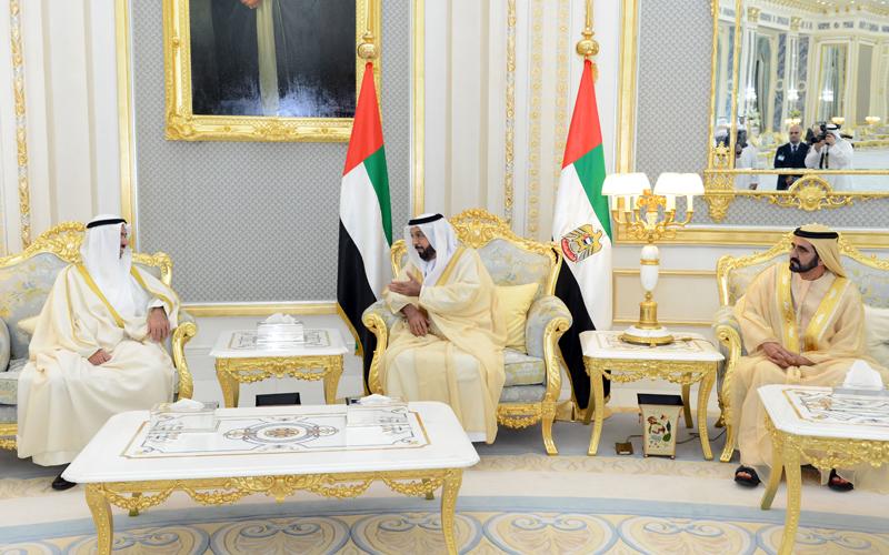 His Highness Sheikh Khalifa bin Zayed Al Nahyan and His Highness Sheikh Mohammed bin Rashid Al Maktoum meet Kuwaiti National Assembly Speaker Ali Fahad Al-Rashed in Al Ain today (Wam)