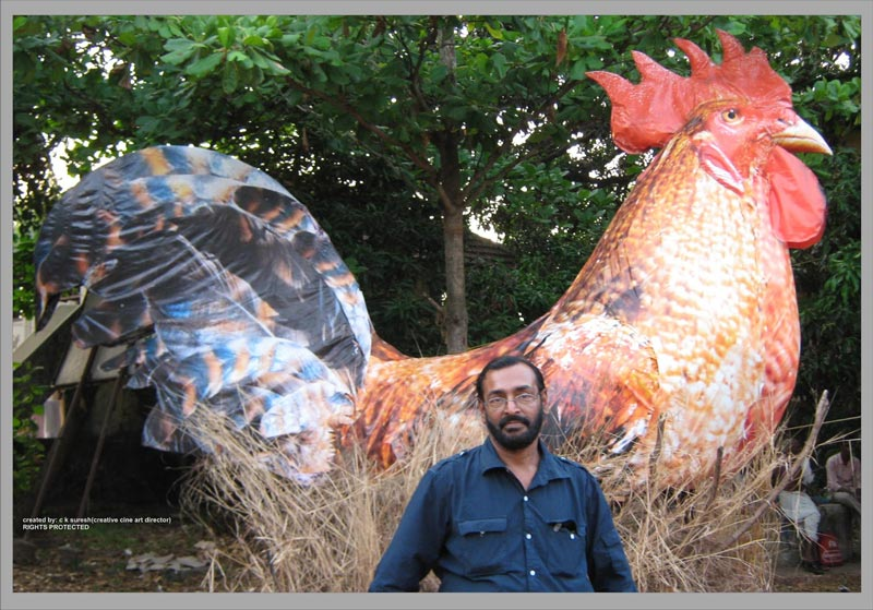 Indian cinema art director C K Suresh with one of his creations.