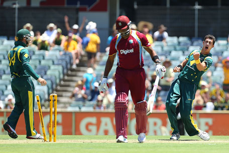 Mitchell Starc of Australia celebrates the wicket of Dwayne Bravo of the West Indies during the 1st one-day international at WACA on February 1, 2013 in Perth, Australia. (GETTY)