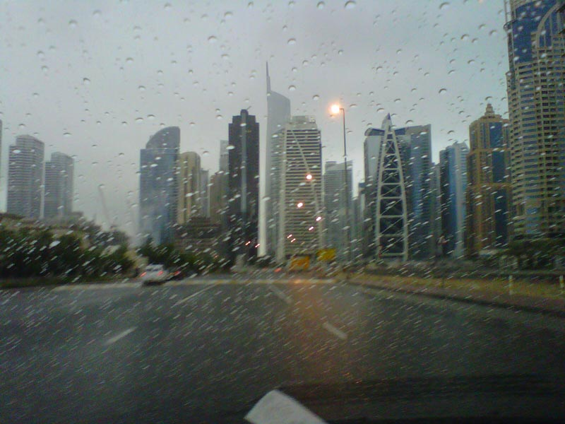 Rainy morning in JLT, Dubai on Saturday.