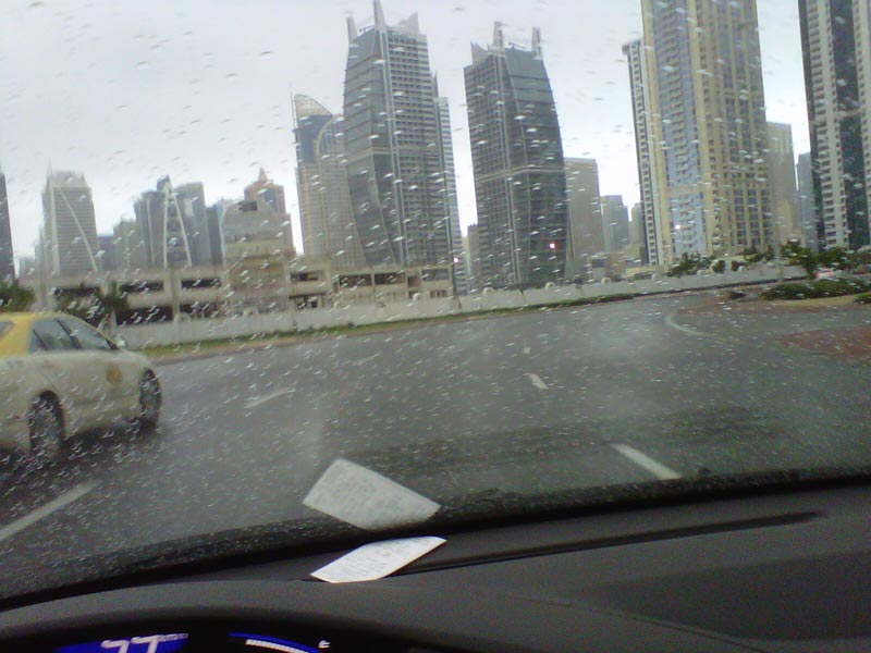 Wet streets and overcast sky in JLT, Dubai on Saturday morning.