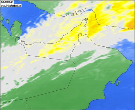The storm system has now moved on further towards the UAE and is also impacting Oman. (Picture courtesy Arabiaweather.com)