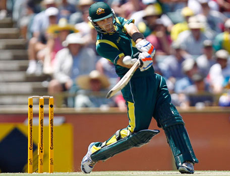 Australia's Glenn Maxwell sold for $1m and the IPL6 auction. He is seen here playing a shot against the West Indies during their one day international cricket match in Perth, Australia, Friday, Feb. 1, 2013. (AP)