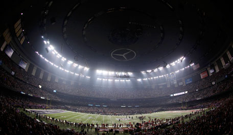 The Superdome is darkened during a power outage in the third quarter of the NFL Super Bowl XLVII football game in New Orleans, Louisiana, February 3, 2013.  (REUTERS)