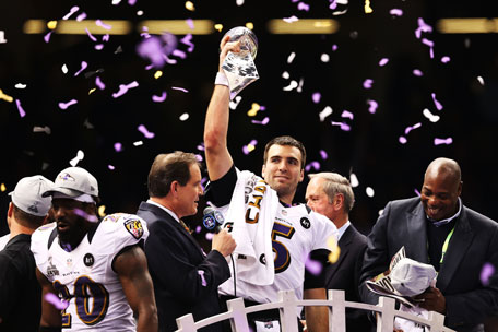Super Bowl MVP Joe Flacco #5 of the Baltimore Ravens celebrates with the Vince Lombardi trophy after the Ravens won 34-31 against the San Francisco 49ers during Super Bowl XLVII at the Mercedes-Benz Superdome on February 3, 2013 in New Orleans, Louisiana. (AFP)