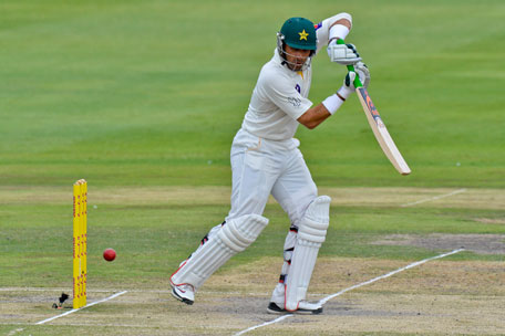 Pakistan batsman Misbah-ul-Haq hits the ball on day three of the first Test against South Africa in Johannesburg at Wanderers Stadium on  February 3, 2013. (AFP)