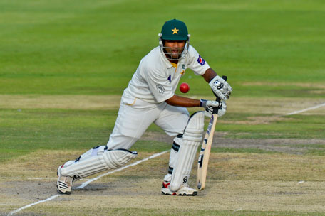 Pakistan batsman Asad Shafiq hits the ball on day three of the first Test against South Africa in Johannesburg at Wanderers Stadium on  February 3, 2013.  (AFP)