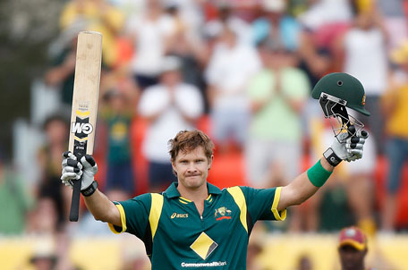 Australia's Shane Watson celebrates reaching a century against the West Indies during their one-day international at Manuka Oval in Canberra February 6, 2013. (REUTERS)