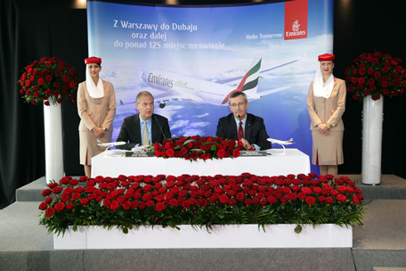 Thierry Antinori, Emirates' Executive Vice President, Passenger Sales Worldwide, and Mr Michał Marzec, Director of Warsaw Chopin Airport, speaking to Polish media shortly after the inaugural landing.