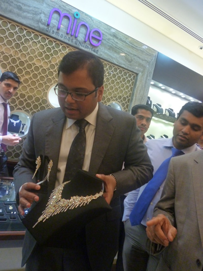 Sham Lal, Managing Director Malabar Gold with the Most Expensive diamond necklace on display, amidst tight security in the Deira City Center Outlet of Malabar Gold. (SUPPLIED)