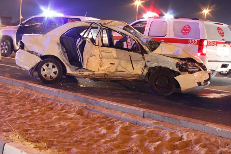 The Toyota Corolla which was involved in an accident on Tripoli Street in Warq area in Dubai on Friday night.