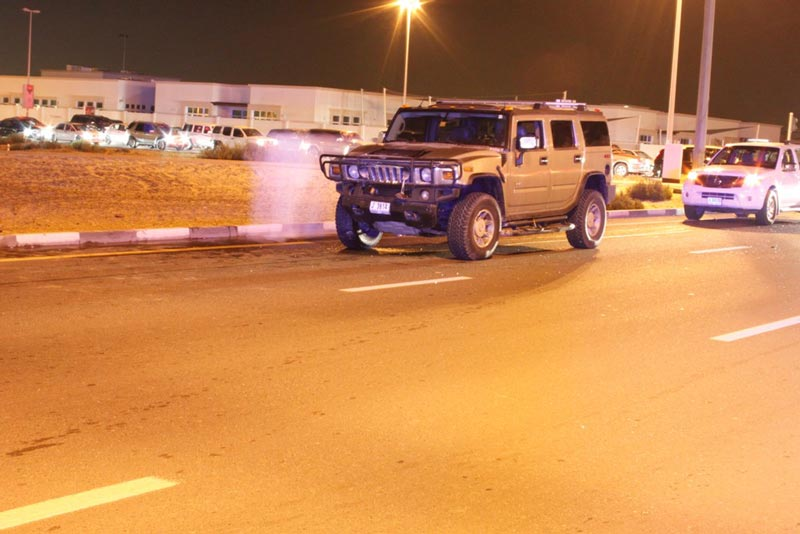 The Hummer which was involved in an accident on Tripoli Street in Warqa area of Dubai on Friday night.