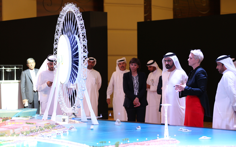 His Highness Sheikh Mohammed bin Rashid Al Maktoum is briefed about the Bluewaters project (Wam)