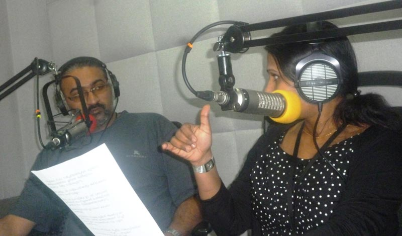 Kris Iyer and Vanitha Vinod of Radio Me conducting their 'Talking Point' show.