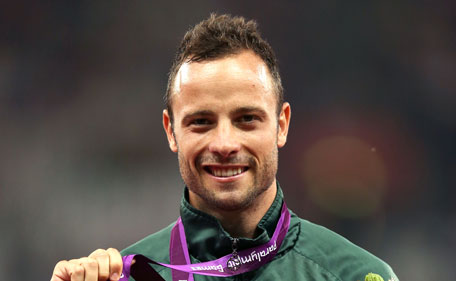 Gold medallist Oscar Pistorius of South Africa poses on the podium during the medal ceremony for the Men's 400m T44 Final on day 10 of the London 2012 Paralympic Games at Olympic Stadium on September 8, 2012 in London, England. (Getty Images)