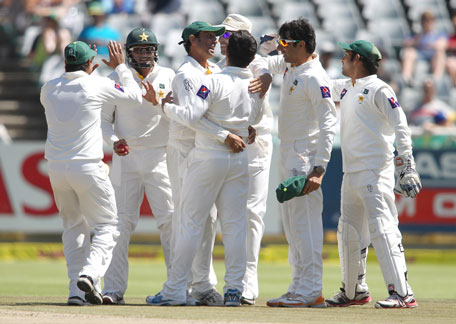 Pakistan celebrate the wicket of Alviro Petersen of South Africa during day two of the 2nd Test at Sahara Park Newlands on February 15, 2013 in Cape Town, South Africa. (GETTY)