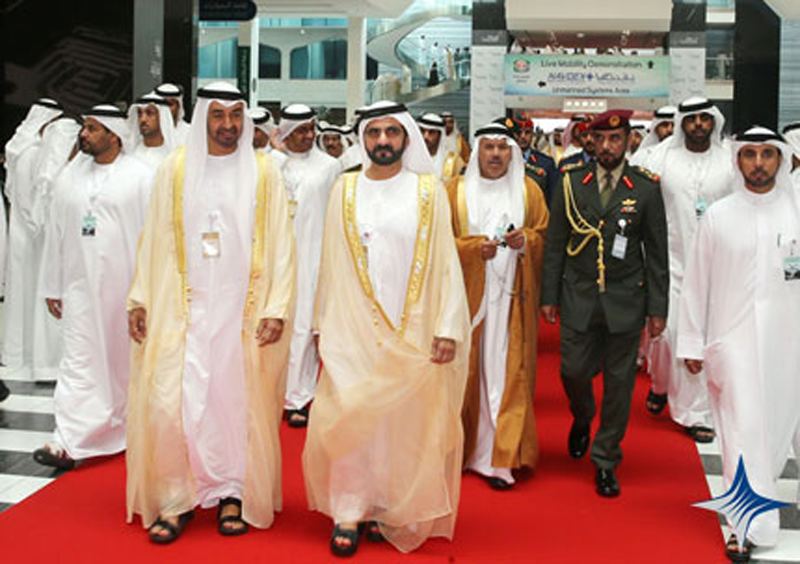 Mohammed bin Rashid and Abu Dhabi Crown Prince during the inauguration of IDEX