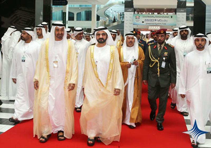 Mohammed bin Rashid and Abu Dhabi Crown Prince during the inauguration of IDEX