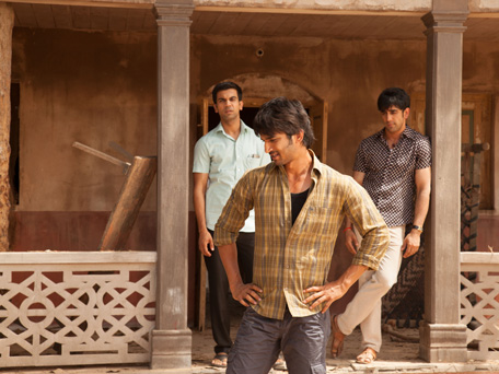 The cast of 'Kai Po Che' Raj Kumar Yadav (L), Sushant Singh Rajput (C) and Amit Sadh (R). (SUPPLIED)