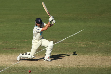 Moises Henriques bats during day two of the Sheffield Shield match between the New South Wales Blues and the Western Australia Warriors at Blacktown International Sportspark on January 25, 2013 in Sydney, Australia. (GETTY)