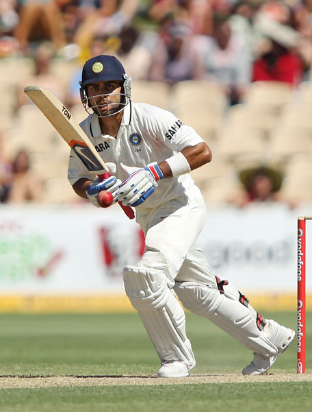 Virat Kohli of India bats during day three of the fourth Test against Australia at Adelaide Oval on January 26, 2012 in Adelaide, Australia. (GETTY)