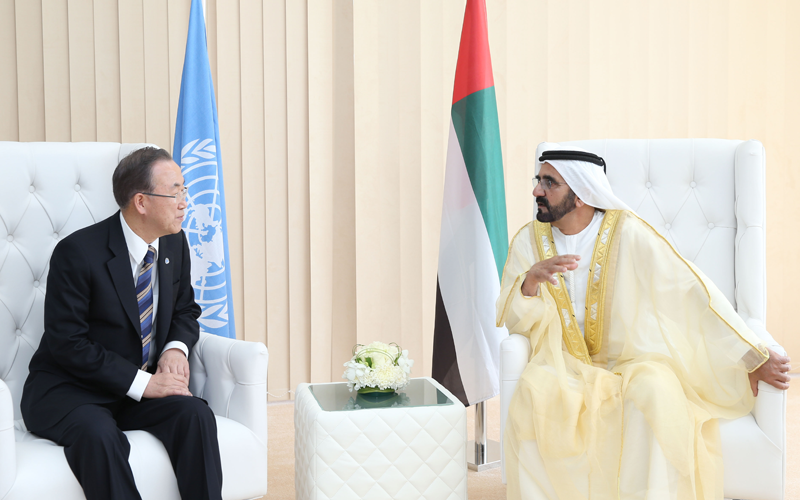 His Highness Sheikh Mohammed bin Rashid Al Maktoum receives UN Secretary General Ban Ki-moon (Wam)