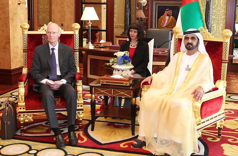 His Highness Sheikh Mohammed bin Rashid Al Maktoum receives the Chairman of the Bureau International des Expositions (BIE) and accompanying delegation at Zabeel Palace (Wam)