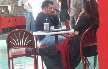Indian film actor Salman Khan and Tabu (with her back) on the set of their upcoming movie 'Mental'. (Reader's pic)