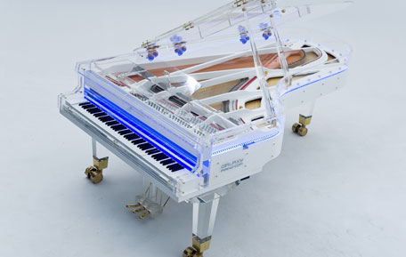 Galaxy Piano Diamond acrylic glass concert grand white. (SUPPLIED)