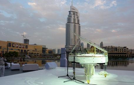 Galaxy Piano PEARL acrylic glass grand white. (SUPPLIED)