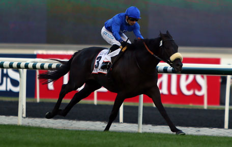 Jockey Silvestre de Sousa leads Cavalryman, owned by Godolphin stables, to win the 10 million-dollar Dubai World Cup, the world's richest horse race, at the Meydan race track in the Gulf emirate on March 30, 2013. (AFP)