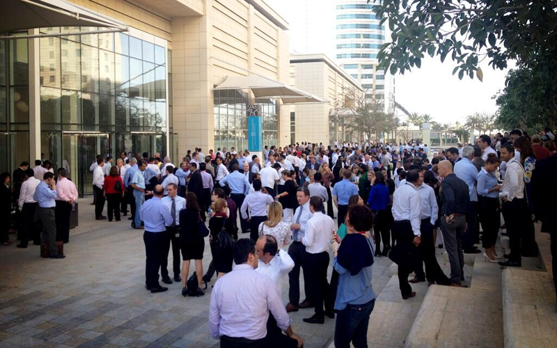 Offices have been evacuated in Jebel Ali after the earthquake today afternoon. (Supplied)
