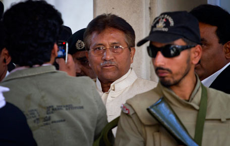Pakistan's former president and military ruler Pervez Musharraf, center, leaves after appearing in court in Rawalpindi, Pakistan on Wednesday, April 17, 2013. Musharraf appeared in court to seek bail in Benazir Bhutto's assassination case. Pakistan's Supreme Court ordered Musharraf to respond to allegations that he committed treason while in power, and barred him from leaving the country only weeks after he returned. (AP)