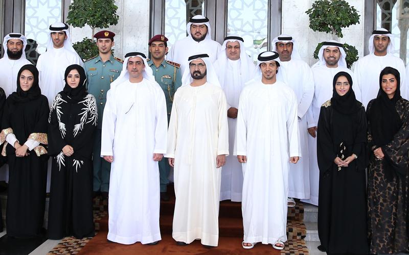 "His Highness Sheikh Mohammed bin Rashid Al Maktoum honours employees of  the ""UAE Government Leaders Program - Future Leaders category"". (Wam)"