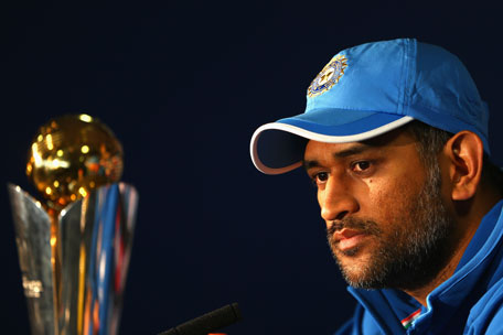 (File) India captain MS Dhoni addresses the media during a press conference at Edgbaston on June 22, 2013 in Birmingham, England. (Getty)