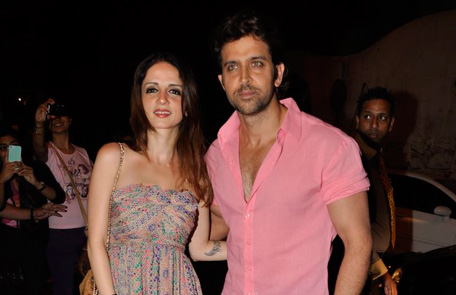 (FILE) Bollywood actor Hrithik Roshan poses for the cameras with his wife Sussanne Roshan while attending the birthday bash of filmmaker Sanjay Leela Bhansali. (Sanskriti Media and Entertainment)