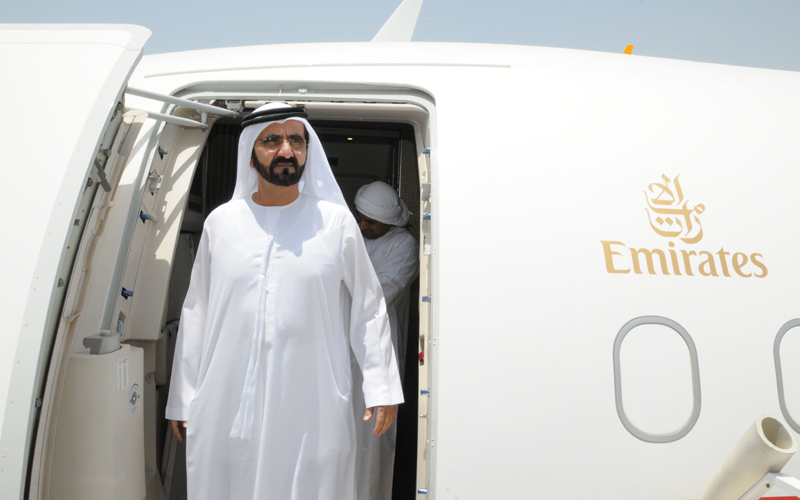 His Highness Sheikh Mohammed bin Rashid Al Maktoum tours the Airbus A319 (Wam)
