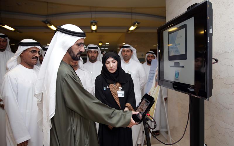 His Highness Sheikh Mohammed bin Rashid Al Maktoum visits the Sheikh Zayed Housing Programme headquarters in Al Rumoul, Dubai (Wam)