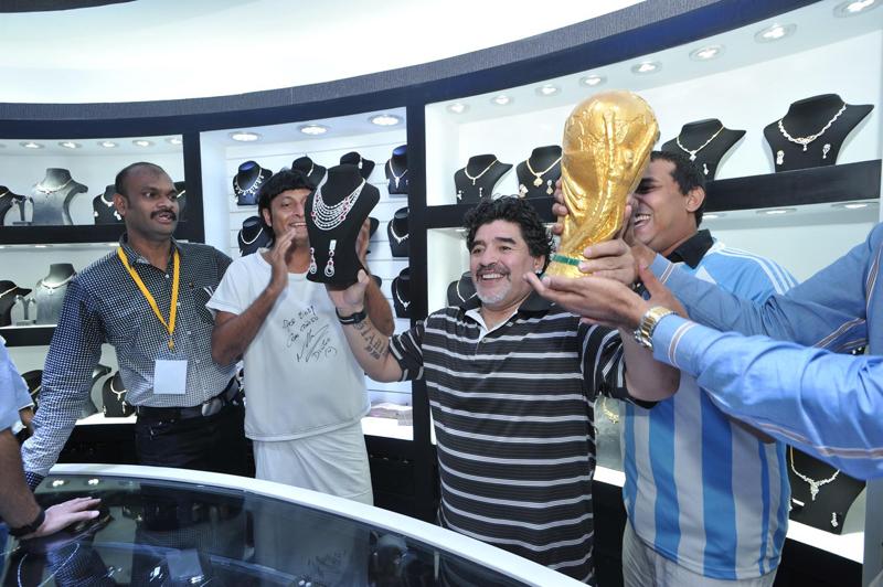 Diego Maradona and Bobby Chemmannur of the Bobby Chemmanur International Group. (Supplied)