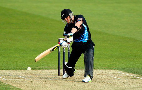 Brendon McCullum hits out during the 1st Natwest International T20 match between England and New Zealand at The Kia Oval on June 25, 2013 in London, England. (GETTY)