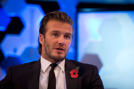 Former England soccer captain David Beckham speaks as he is interviewed by The Associated Press at a studio in Hampstead, north London, Wednesday, Oct. 30, 2013. (AP)