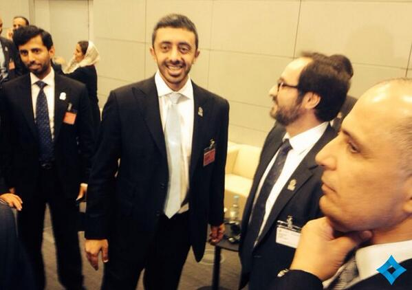 Sheikh Abdullah bin Zayed Al Nahyan smiles after Dubai was voted first in the first round.