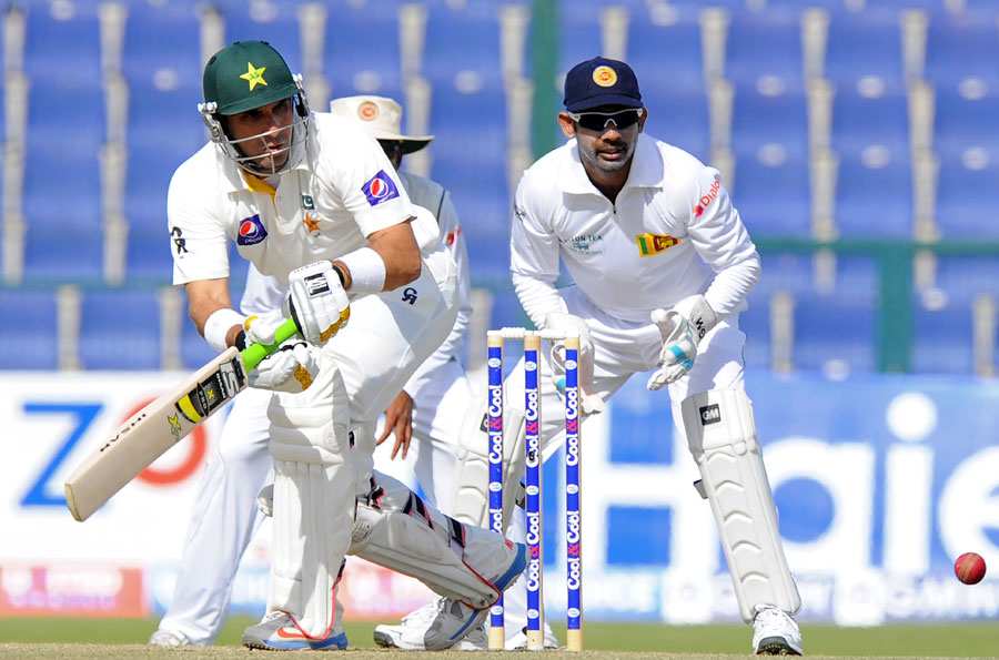 Pakistan captain Misbah ul Haq plays a shot on day two of the first Test against Sri Lanka at Sheikh Zayed Cricket Stadium in Abu Dhabi on Wednesday. (AFP)