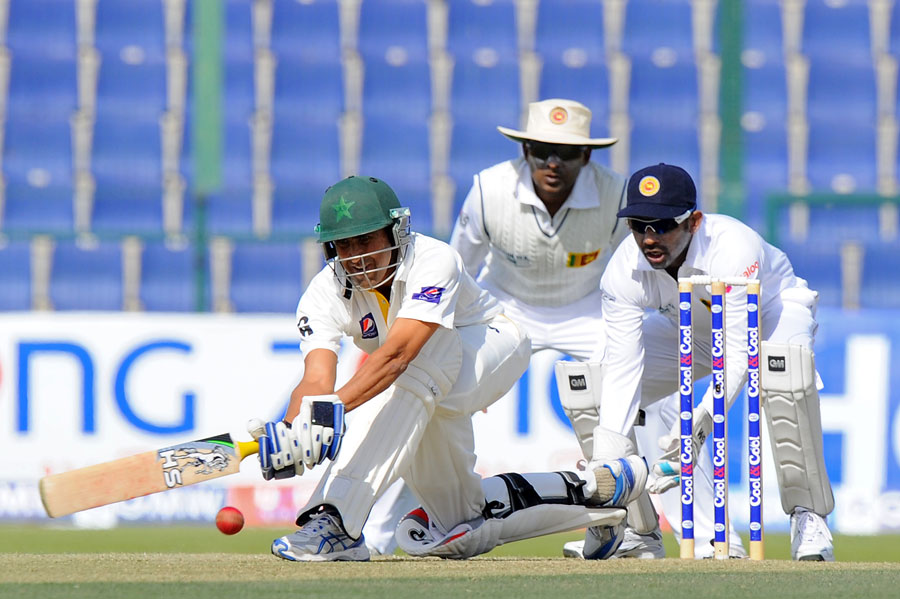 Pakistan's Younis Khan plays a shot on day two of the first Test against Sri Lanka at Sheikh Zayed Cricket Stadium in Abu Dhabi on Wednesday. (AFP)