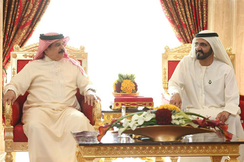 His Highness Sheikh Mohammed bin Rashid Al Maktoum receives King Hamad bin Isa Al Khalifa of Bahrain in Dubai today (Wam)