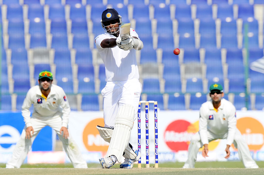 Sri Lanka's Angelo Mathews plays a shot on day four of the first Test against Pakistn at Sheikh Zayed Cricket Stadium in Abu Dhabi on Friday. (AFP)