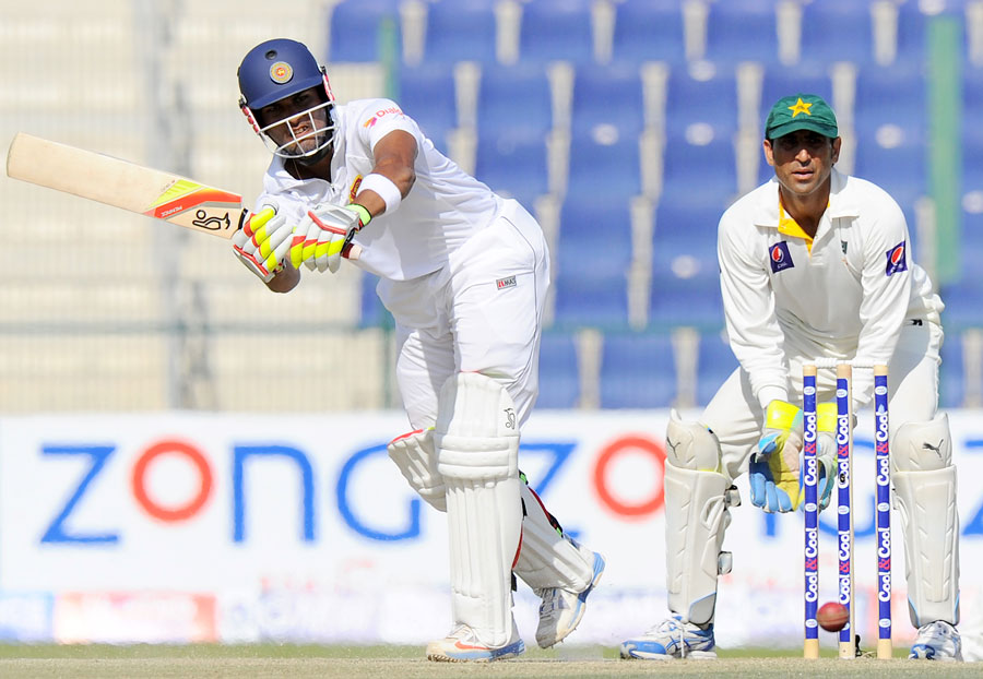 Sri Lanka's Dinesh Chandimal plays a shot on day four of the first Test against Pakistan at Sheikh Zayed Cricket Stadium in Abu Dhabi on Jan 3, 2103. (AFP)