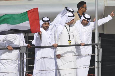 Sheikh Juma Bin Maktoum Al Maktoum flags off the 2014 Dunlop 24 Hours of Dubai at Dubai Autodrome on Friday. (SUPPLIED)